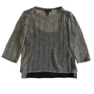 INC Intl Concepts Beige Black Sequins Top Size L